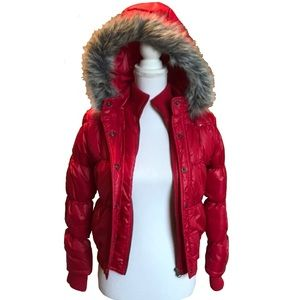Justice puffy jacket with detachable hood